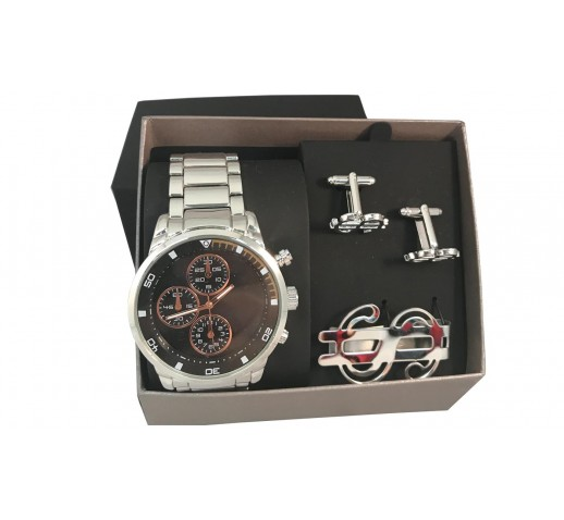 Tonal Dial Watch Tie Clip & Cufflinks Set Is Perfect For Any Casual Wardrobe