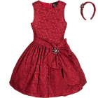 Burgundy Jacquard Dress & Hairband 2 Piece Set